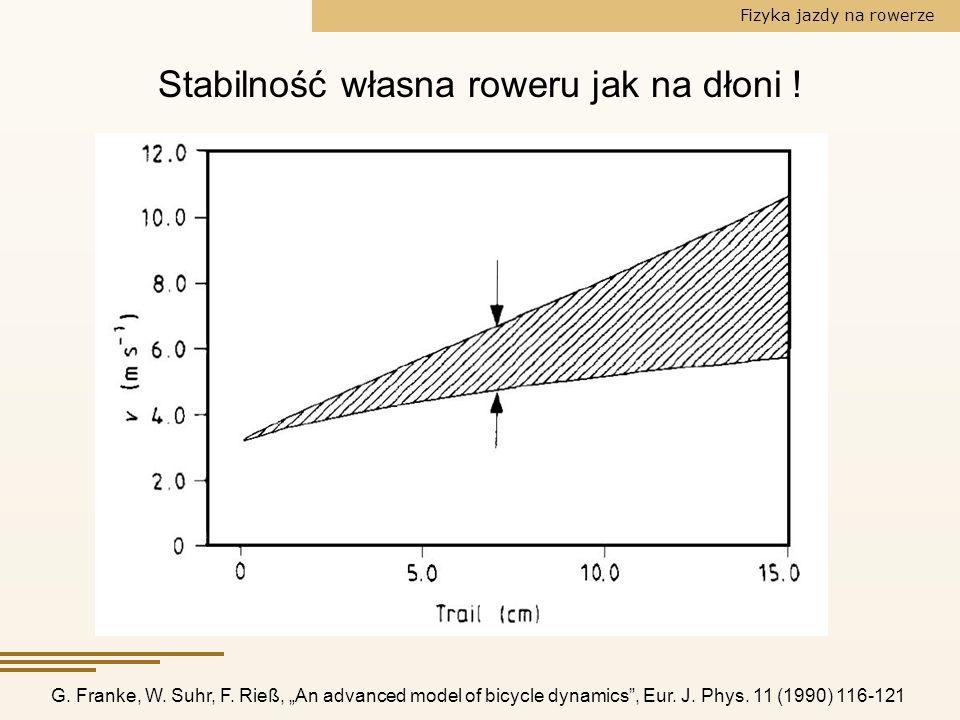 Fizyka jazdy na rowerze Stabilność własna roweru jak na dłoni ! G. Franke, W. Suhr, F. Rieß, An advanced model of bicycle dynamics, Eur. J. Phys. 11 (