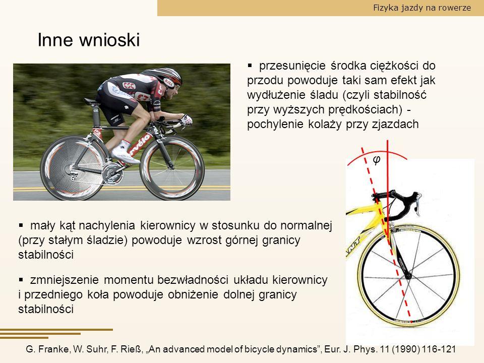 Fizyka jazdy na rowerze Inne wnioski przesunięcie środka ciężkości do przodu powoduje taki sam efekt jak wydłużenie śladu (czyli stabilność przy wyższ