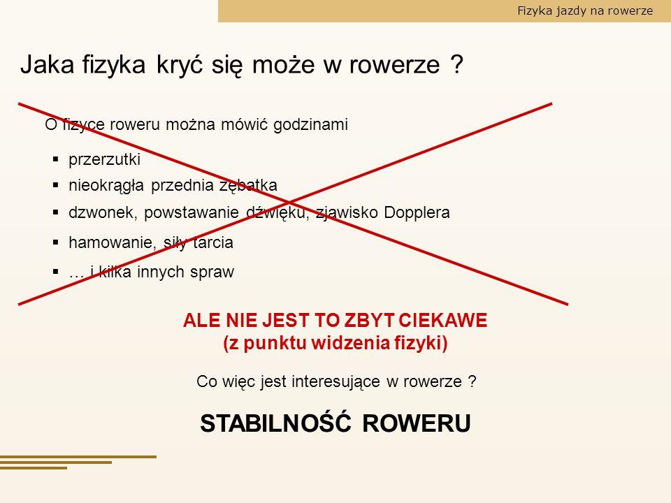 Fizyka jazdy na rowerze Najprostsza odpowiedź: Stabilność .