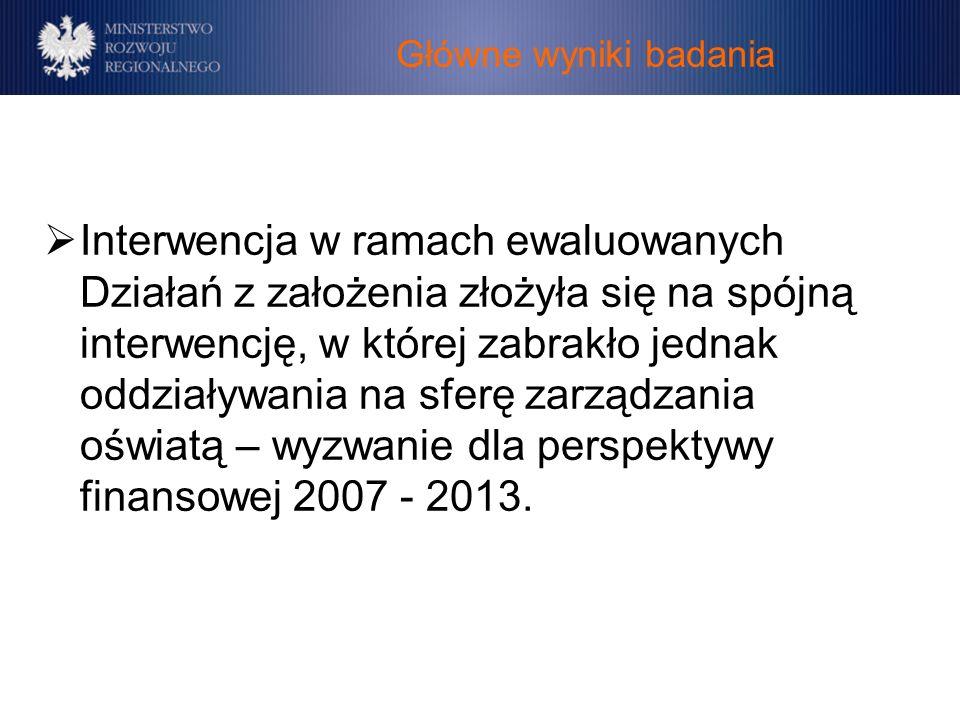 Główne wyniki badania Interwencja w ramach ewaluowanych Działań z założenia złożyła się na spójną interwencję, w której zabrakło jednak oddziaływania na sferę zarządzania oświatą – wyzwanie dla perspektywy finansowej 2007 - 2013.