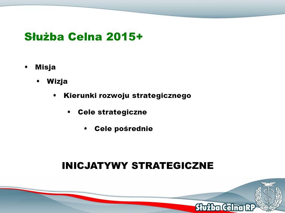 Służba Celna 2015+ - Misja Polska Służba Celna przyjazna dla obywateli i przedsiębiorców, stosując skuteczny system kontroli w oparciu o wysoko wykwalifikowaną kadrę, efektywne metody zarządzania i nowoczesne technologie: zabezpiecza interesy finansowe Polski i U nii E uropejskiej, wspiera i ułatwia legalną działalność gospodarczą, zabezpiecza i chroni społeczeństwo oraz środowisko przed zagrożeniami.