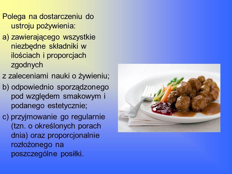 Polega na dostarczeniu do ustroju pożywienia: a) zawierającego wszystkie niezbędne składniki w ilościach i proporcjach zgodnych z zaleceniami nauki o
