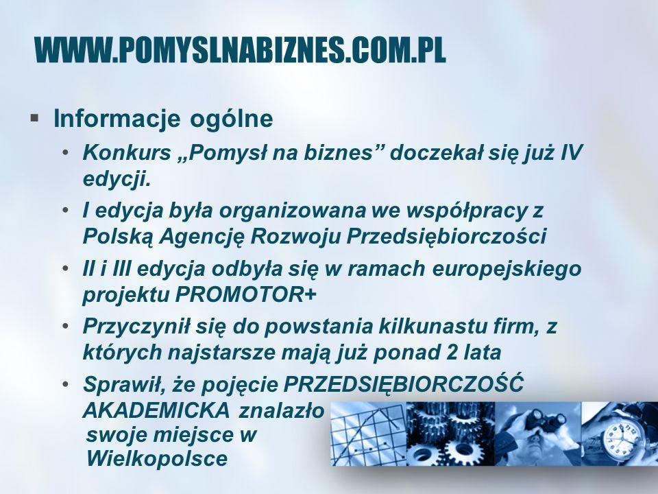 WWW.POMYSLNABIZNES.COM.PL Informacje ogólne Konkurs Pomysł na biznes doczekał się już IV edycji. I edycja była organizowana we współpracy z Polską Age