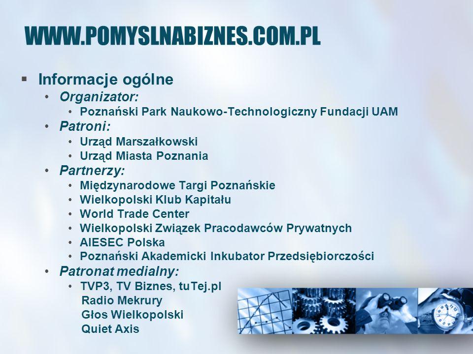 WWW.POMYSLNABIZNES.COM.PL Informacje ogólne Organizator: Poznański Park Naukowo-Technologiczny Fundacji UAM Patroni: Urząd Marszałkowski Urząd Miasta