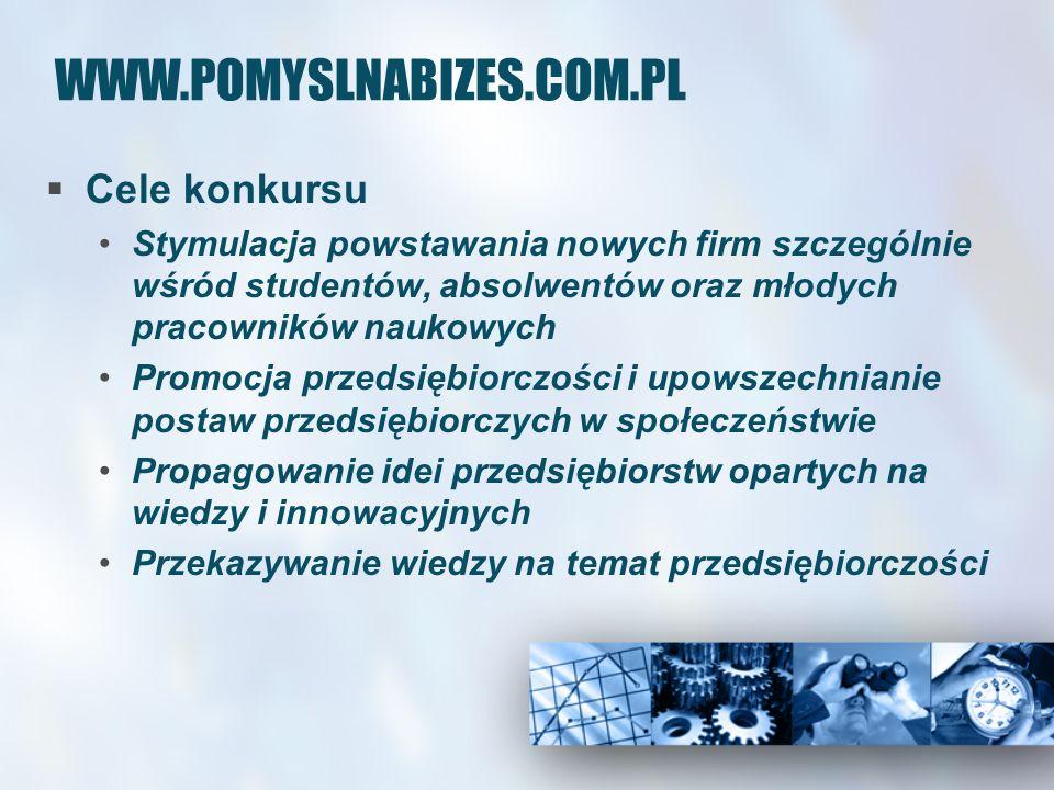 WWW.POMYSLNABIZES.COM.PL Cele konkursu Stymulacja powstawania nowych firm szczególnie wśród studentów, absolwentów oraz młodych pracowników naukowych Promocja przedsiębiorczości i upowszechnianie postaw przedsiębiorczych w społeczeństwie Propagowanie idei przedsiębiorstw opartych na wiedzy i innowacyjnych Przekazywanie wiedzy na temat przedsiębiorczości