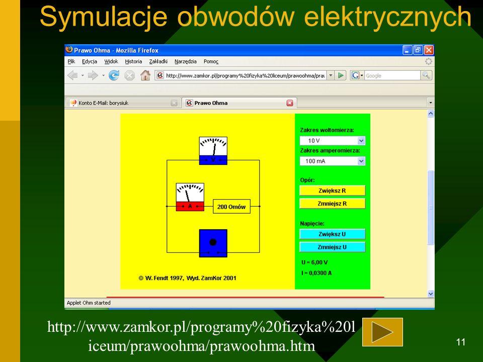 10 Symulacje działania maszyn http://www.zamkor.pl/programy fizyka liceum/silnik_elektr/silnik_elektr.htm