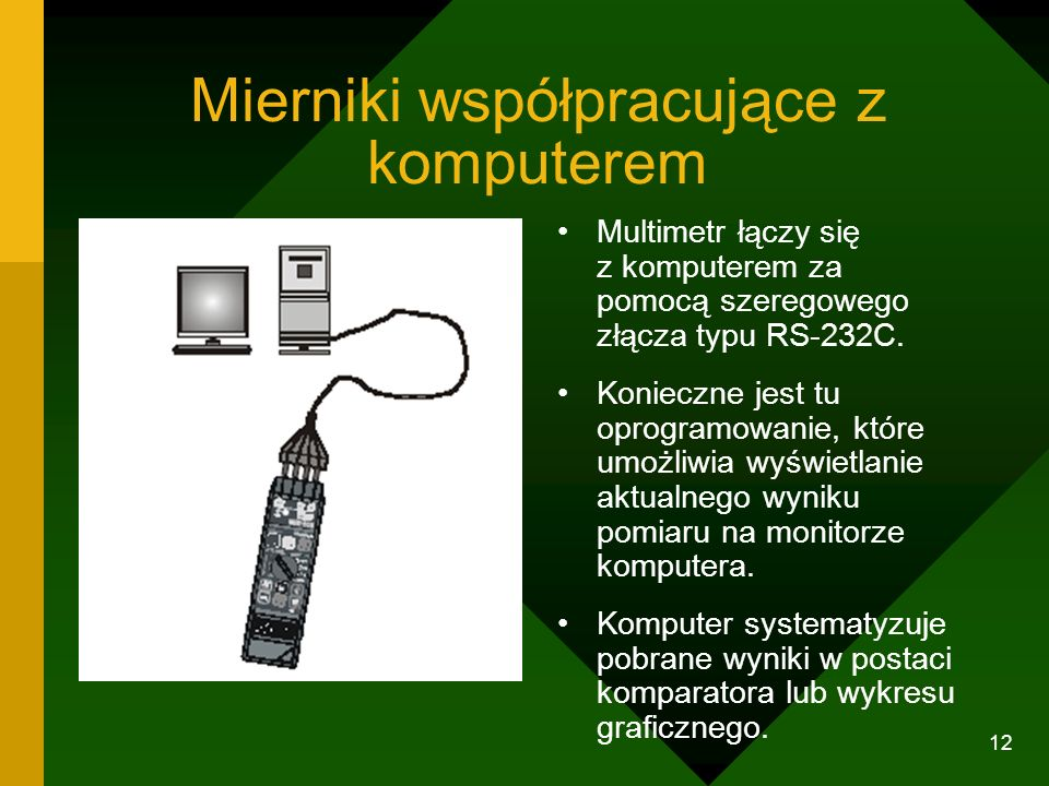 11 Symulacje obwodów elektrycznych http://www.zamkor.pl/programy%20fizyka%20l iceum/prawoohma/prawoohma.htm