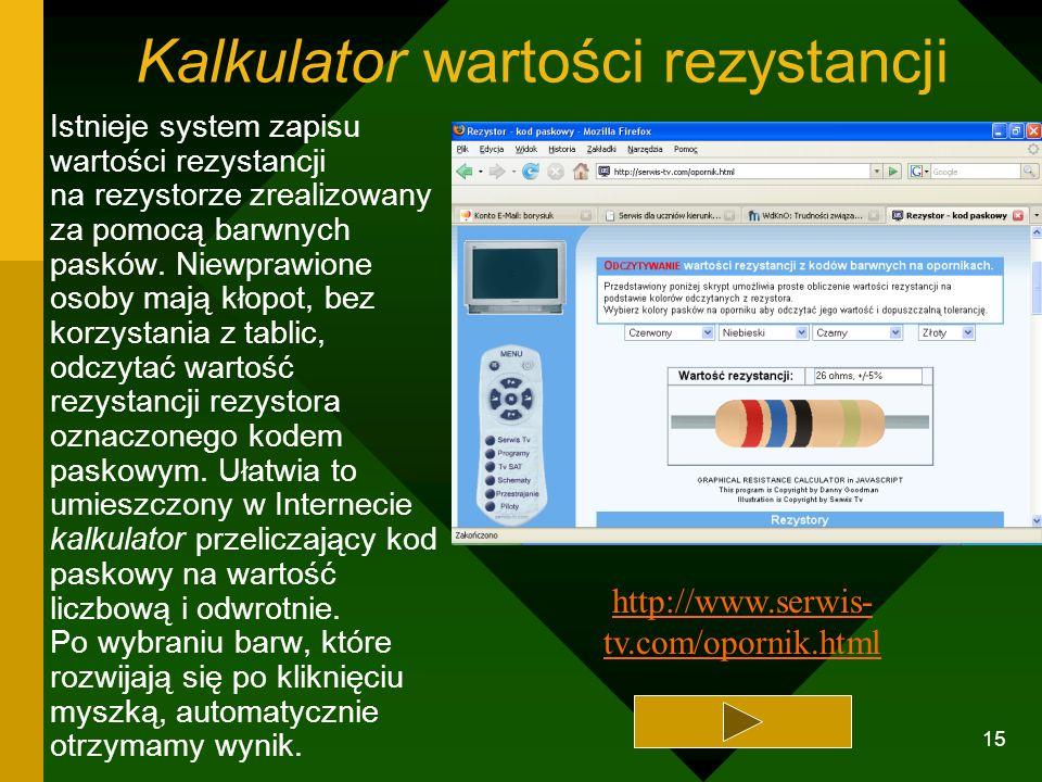 14 Wirtualne katalogi elementów elektronicznych W czasie pomiarów laboratoryjnych na zajęciach pracowni elektrycznej i elektronicznej często zachodzi