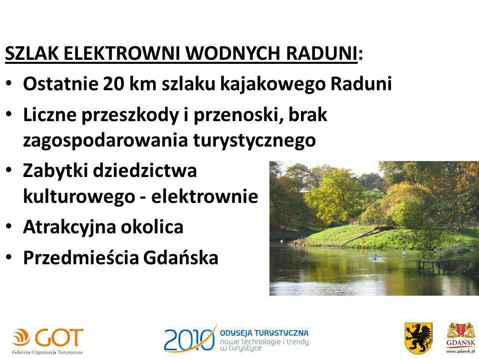 SZLAK ELEKTROWNI WODNYCH RADUNI: Ostatnie 20 km szlaku kajakowego Raduni Liczne przeszkody i przenoski, brak zagospodarowania turystycznego Zabytki dz