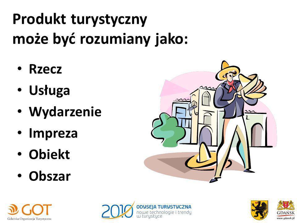 Produkt turystyczny może być rozumiany jako: Rzecz Usługa Wydarzenie Impreza Obiekt Obszar