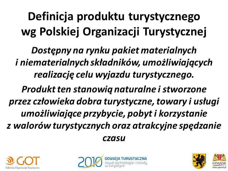 Definicja produktu turystycznego wg Polskiej Organizacji Turystycznej Dostępny na rynku pakiet materialnych i niematerialnych składników, umożliwiając