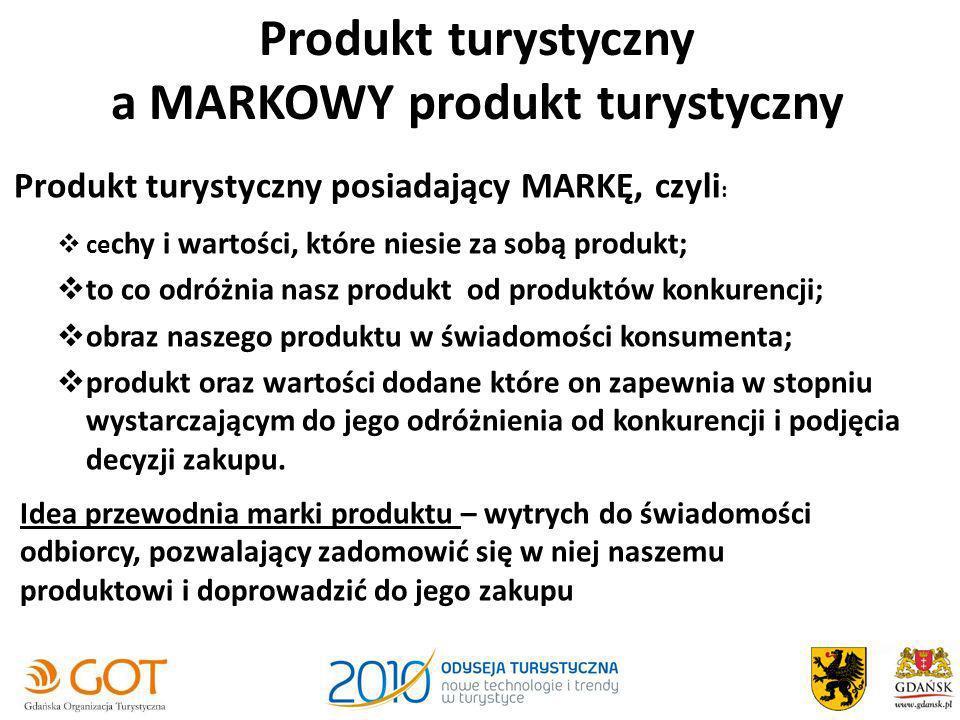 Produkt turystyczny a MARKOWY produkt turystyczny Produkt turystyczny posiadający MARKĘ, czyli : ce chy i wartości, które niesie za sobą produkt; to c