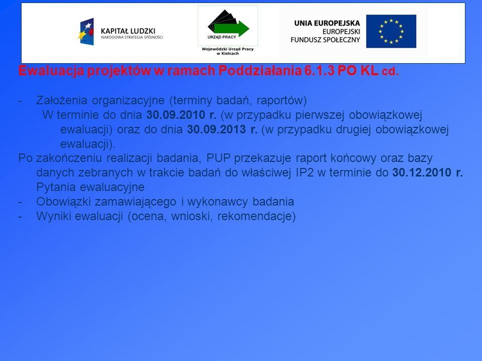 Ewaluacja projektów w ramach Poddziałania 6.1.3 PO KL cd.