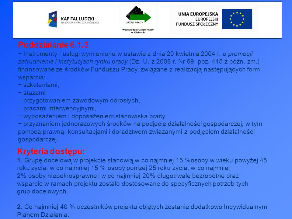 Poddziałanie 6.1.3 Instrumenty i usługi wymienione w ustawie z dnia 20 kwietnia 2004 r.