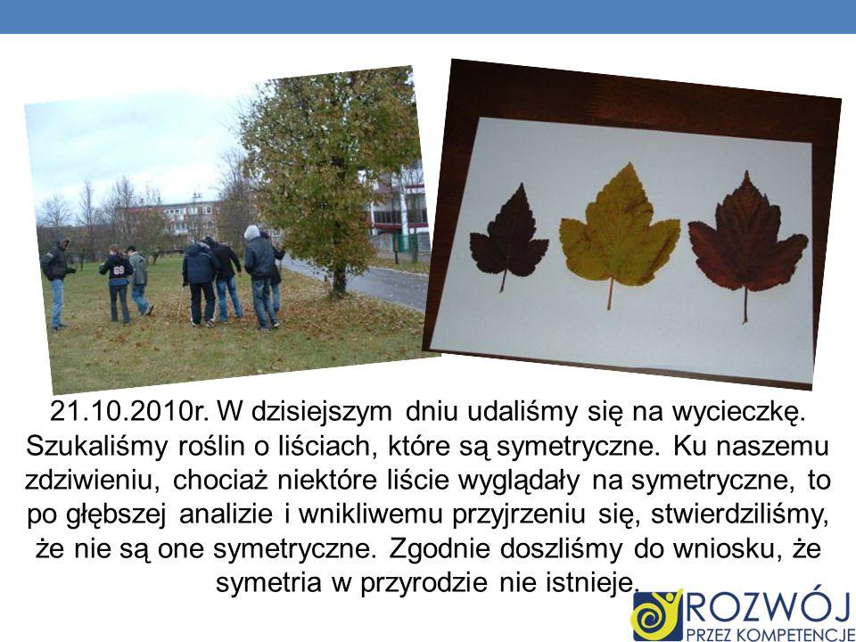 21.10.2010r. W dzisiejszym dniu udaliśmy się na wycieczkę. Szukaliśmy roślin o liściach, które są symetryczne. Ku naszemu zdziwieniu, chociaż niektóre