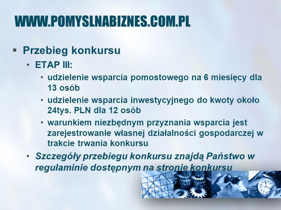 WWW.POMYSLNABIZNES.COM.PL Przebieg konkursu ETAP III: udzielenie wsparcia pomostowego na 6 miesięcy dla 13 osób udzielenie wsparcia inwestycyjnego do