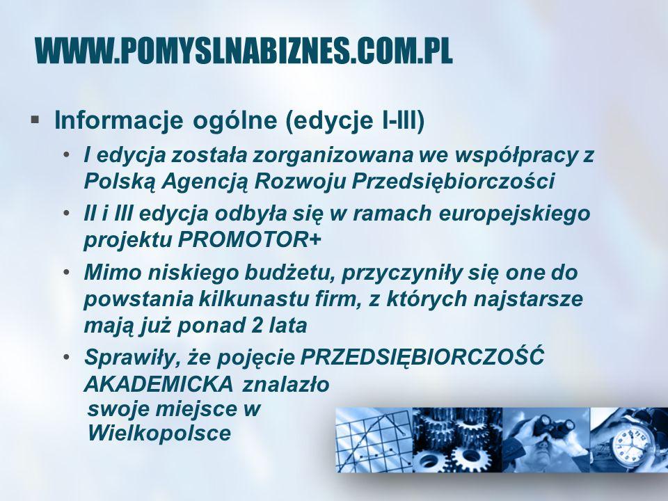 WWW.POMYSLNABIZNES.COM.PL Informacje ogólne (edycja IV) IV edycja konkursu po raz pierwszy odbyła się w się w ramach projektu Pomysł na biznes – promocja przedsiębiorczości akademickiej w Wielkopolsce Projekt współfinansowany ze środków EFS, w ramach Działania 2.5 ZPORR Promocja przedsiębiorczości – czas realizacji: luty 2007r.