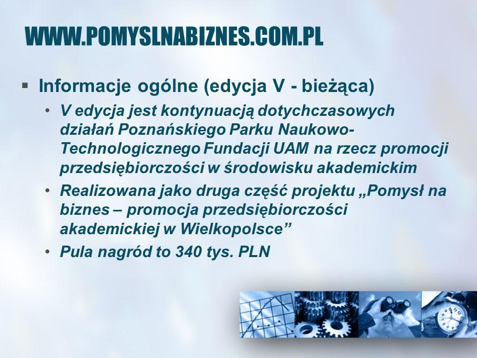WWW.POMYSLNABIZNES.COM.PL Informacje ogólne (edycja V - bieżąca) V edycja jest kontynuacją dotychczasowych działań Poznańskiego Parku Naukowo- Technol