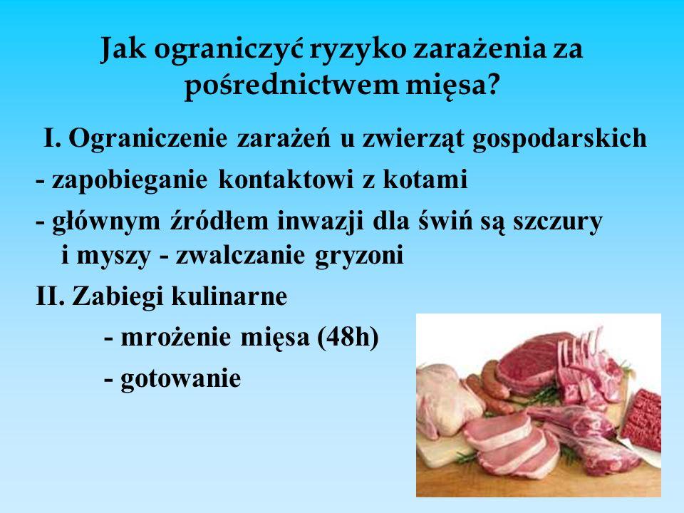 Jak ograniczyć ryzyko zarażenia za pośrednictwem mięsa? I. Ograniczenie zarażeń u zwierząt gospodarskich - zapobieganie kontaktowi z kotami - głównym