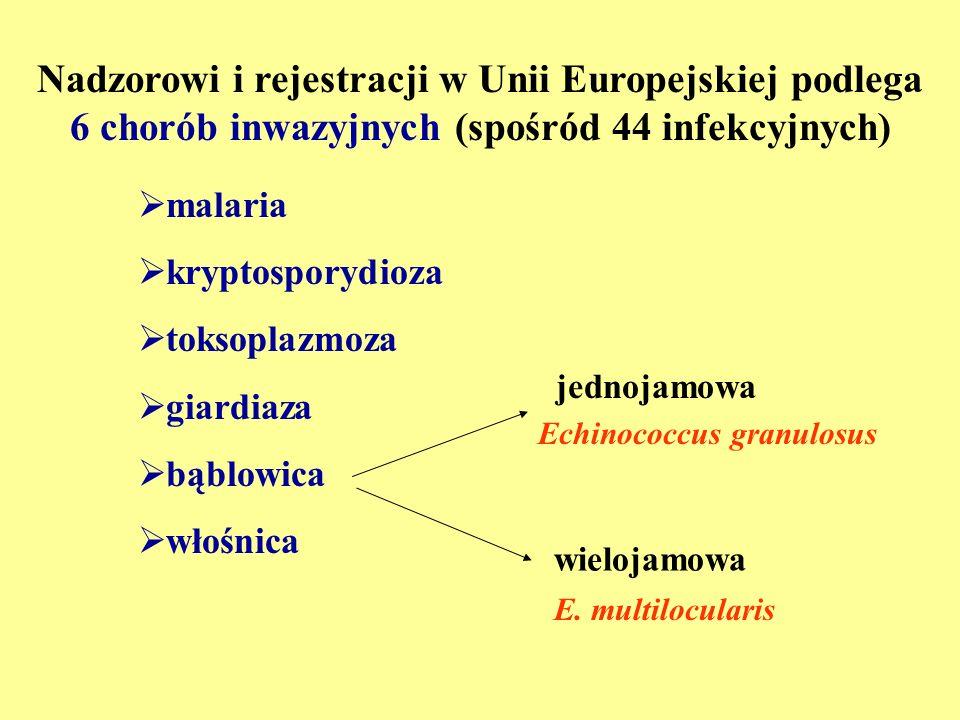 Choroby pasożytnicze spełniające kryteriaemerging diseases (wg WHO/FAO): W Polsce kryteria te spełniają: - malaria - kryptosporidioza - bąblowica wielojamowa - włośnica - dirofilarioza - strongyloidoza - kryptosporidioza - inwazja Cyclospora cayetanensis - bąblowica wielojamowa - włośnica (Knap, 2008) - toksokaroza