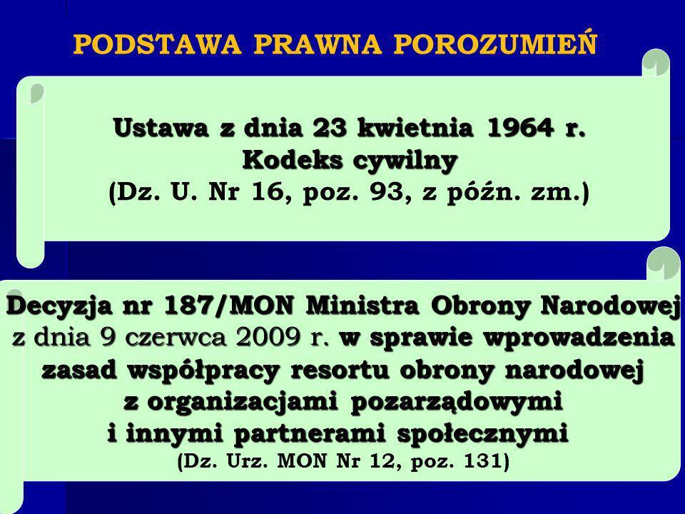 PODSTAWA PRAWNA POROZUMIEŃ Decyzja nr 187/MON Ministra Obrony Narodowej z dnia 9 czerwca 2009 r.