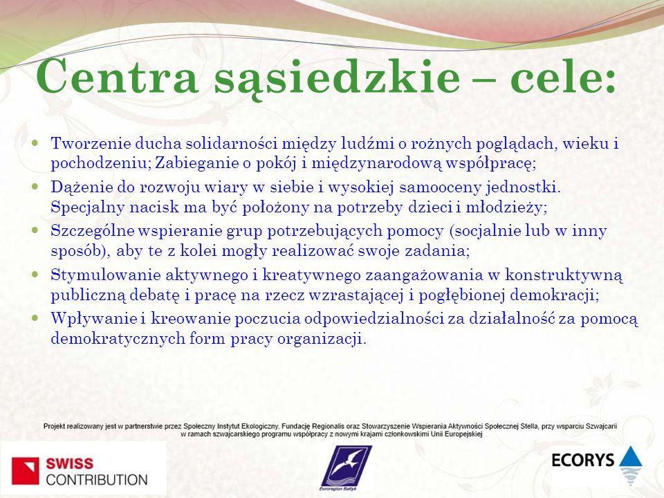 Centra sąsiedzkie – cele: Tworzenie ducha solidarności między ludźmi o rożnych poglądach, wieku i pochodzeniu; Zabieganie o pokój i międzynarodową wsp