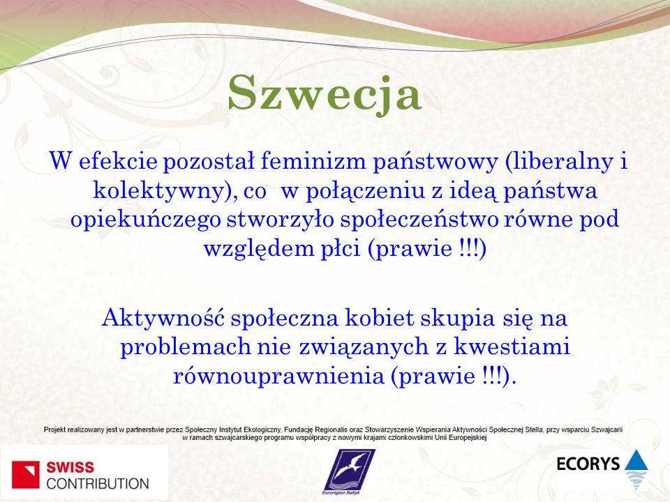 Szwecja W efekcie pozostał feminizm państwowy (liberalny i kolektywny), co w połączeniu z ideą państwa opiekuńczego stworzyło społeczeństwo równe pod