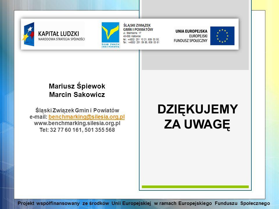 Mariusz Śpiewok Marcin Sakowicz Śląski Związek Gmin i Powiatów e-mail: benchmarking@silesia.org.plbenchmarking@silesia.org.pl www.benchmarking.silesia