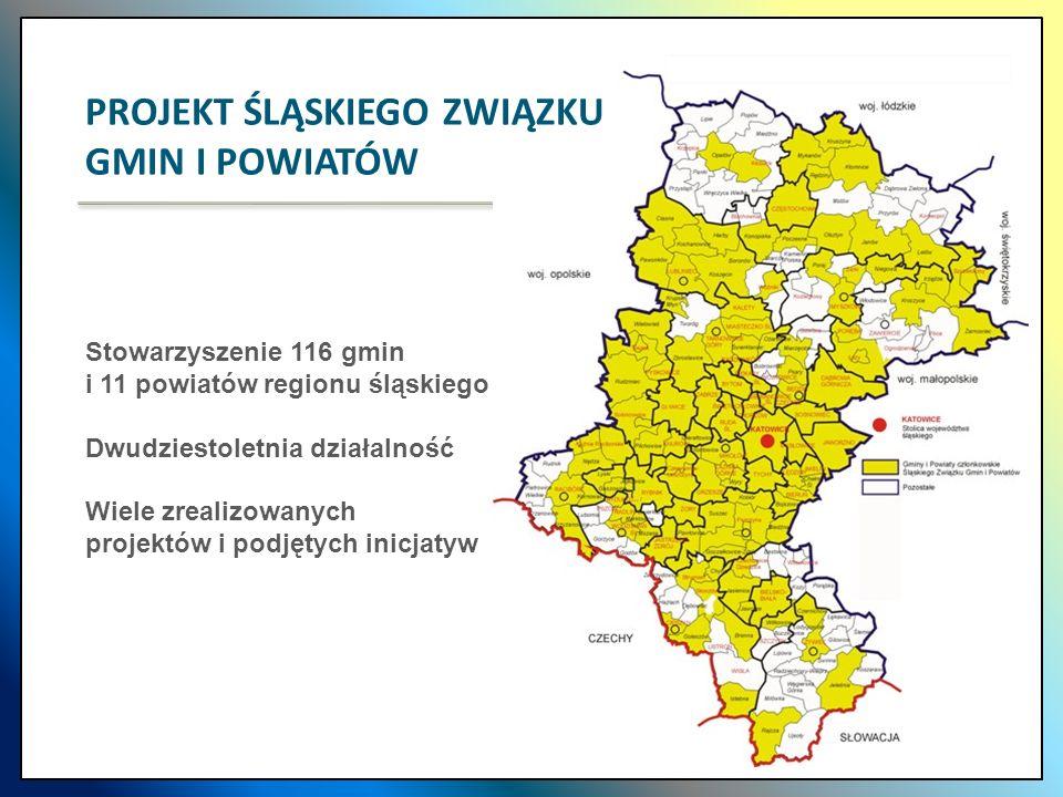 Stowarzyszenie 116 gmin i 11 powiatów regionu śląskiego Dwudziestoletnia działalność Wiele zrealizowanych projektów i podjętych inicjatyw PROJEKT ŚLĄS