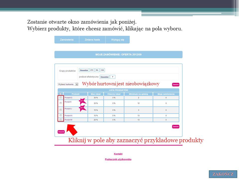 Kliknij w pole aby zaznaczyć przykładowe produkty Zostanie otwarte okno zamówienia jak poniżej. Wybierz produkty, które chcesz zamówić, klikając na po