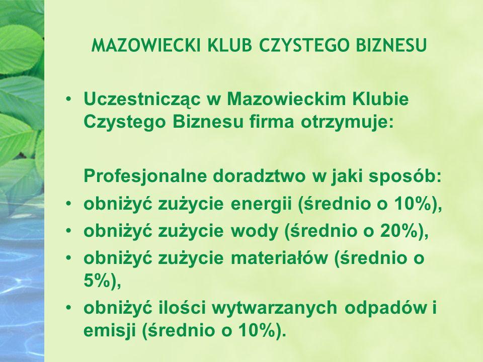 Uczestnicząc w Mazowieckim Klubie Czystego Biznesu firma otrzymuje: Profesjonalne doradztwo w jaki sposób: obniżyć zużycie energii (średnio o 10%), ob