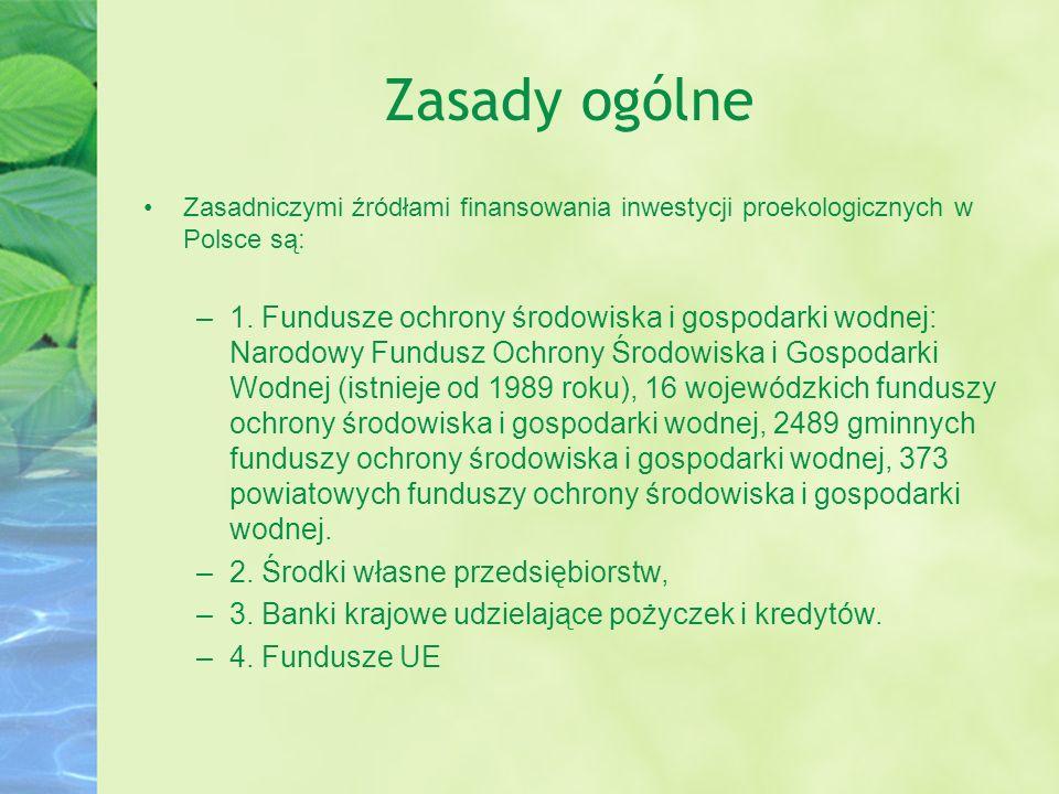 Zasady ogólne Zasadniczymi źródłami finansowania inwestycji proekologicznych w Polsce są: –1. Fundusze ochrony środowiska i gospodarki wodnej: Narodow