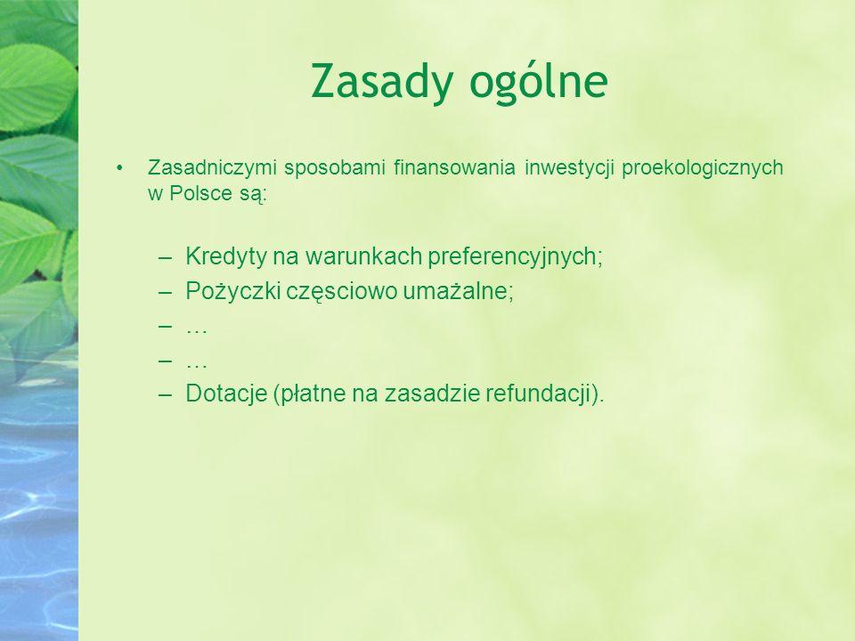 Zasady ogólne Zasadniczymi sposobami finansowania inwestycji proekologicznych w Polsce są: –Kredyty na warunkach preferencyjnych; –Pożyczki częsciowo