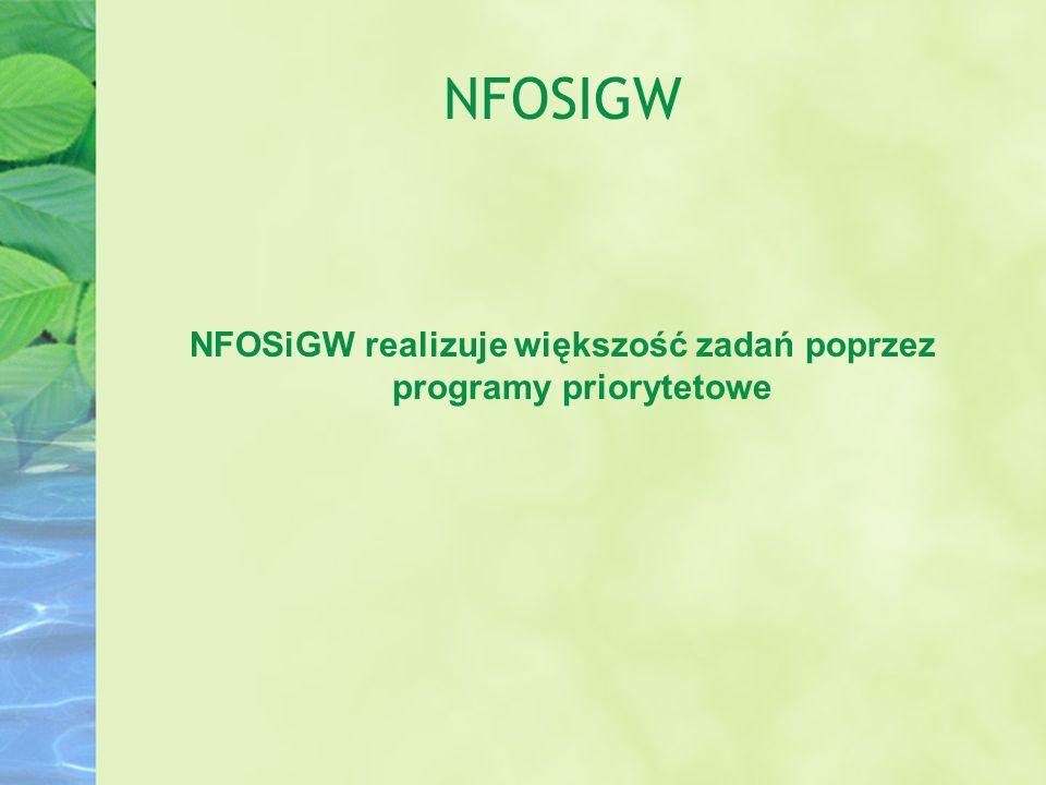 NFOSIGW NFOSiGW realizuje większość zadań poprzez programy priorytetowe
