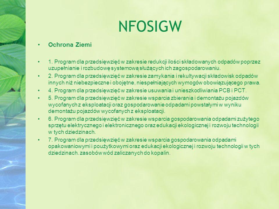 NFOSIGW Ochrona Ziemi 1. Program dla przedsięwzięć w zakresie redukcji ilości składowanych odpadów poprzez uzupełnianie i rozbudowę systemową służącyc