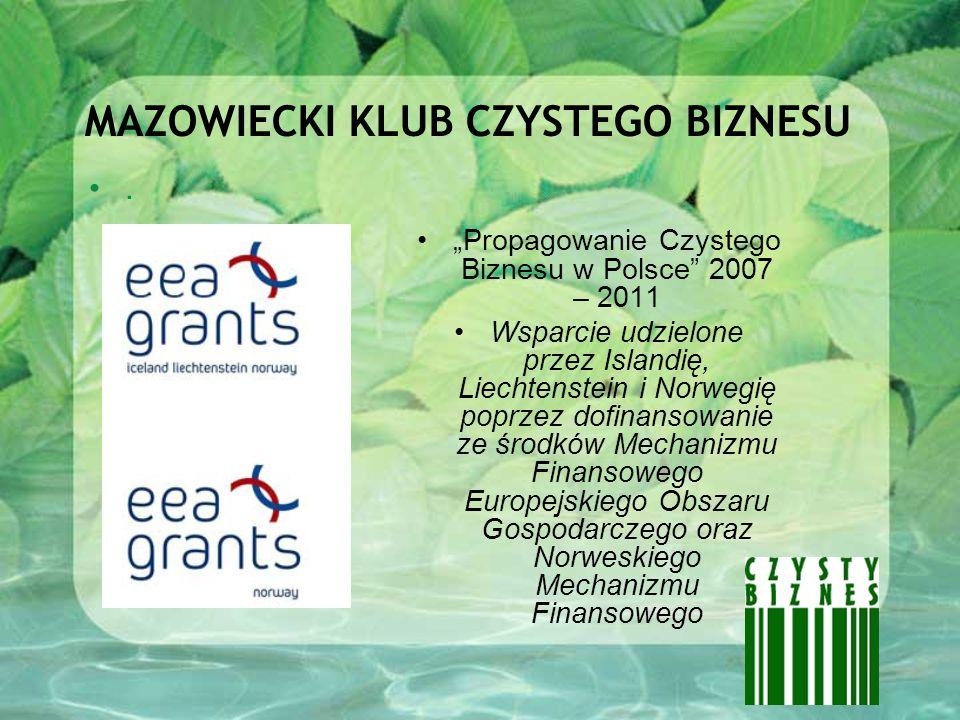 MAZOWIECKI KLUB CZYSTEGO BIZNESU. Propagowanie Czystego Biznesu w Polsce 2007 – 2011 Wsparcie udzielone przez Islandię, Liechtenstein i Norwegię poprz
