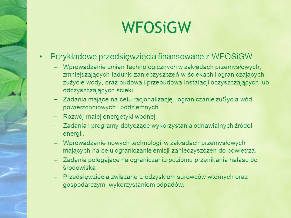 WFOSiGW Przykładowe przedsięwzięcia finansowane z WFOSiGW: –Wprowadzanie zmian technologicznych w zakładach przemysłowych, zmniejszających ładunki zan