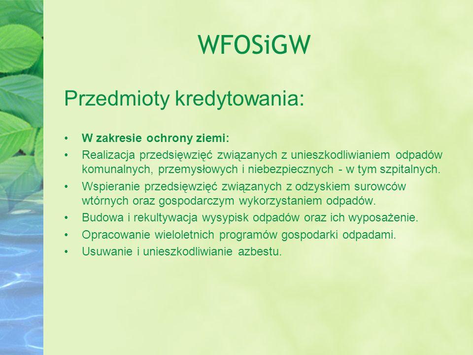 WFOSiGW Przedmioty kredytowania: W zakresie ochrony ziemi: Realizacja przedsięwzięć związanych z unieszkodliwianiem odpadów komunalnych, przemysłowych