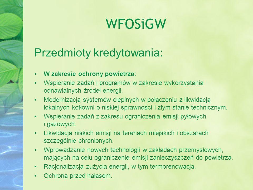 WFOSiGW Przedmioty kredytowania: W zakresie ochrony powietrza: Wspieranie zadań i programów w zakresie wykorzystania odnawialnych źródeł energii. Mode