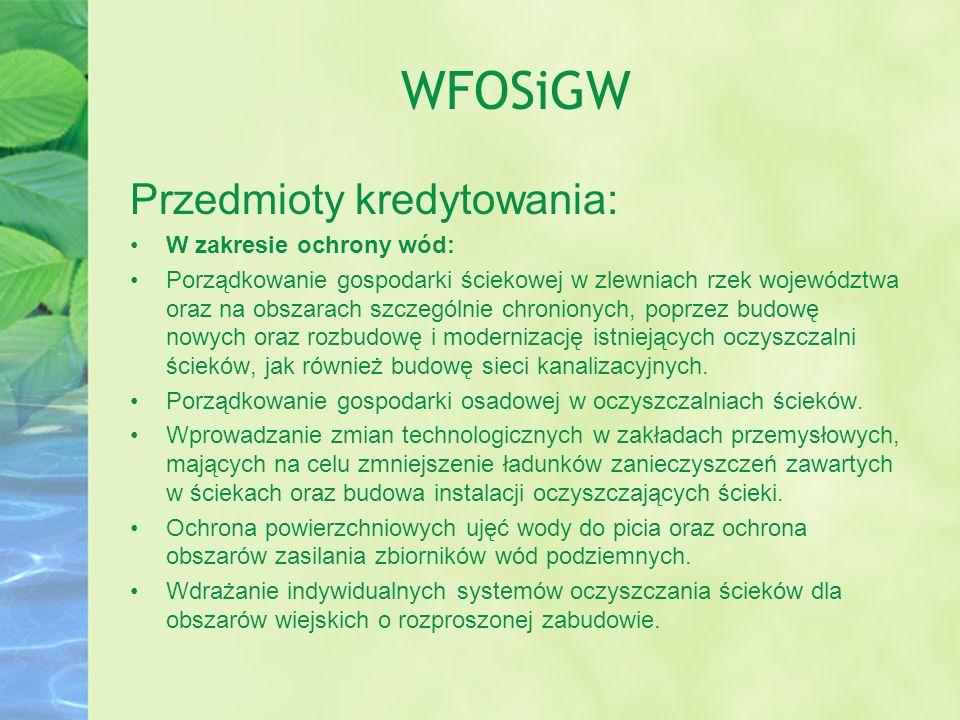 WFOSiGW Przedmioty kredytowania: W zakresie ochrony wód: Porządkowanie gospodarki ściekowej w zlewniach rzek województwa oraz na obszarach szczególnie