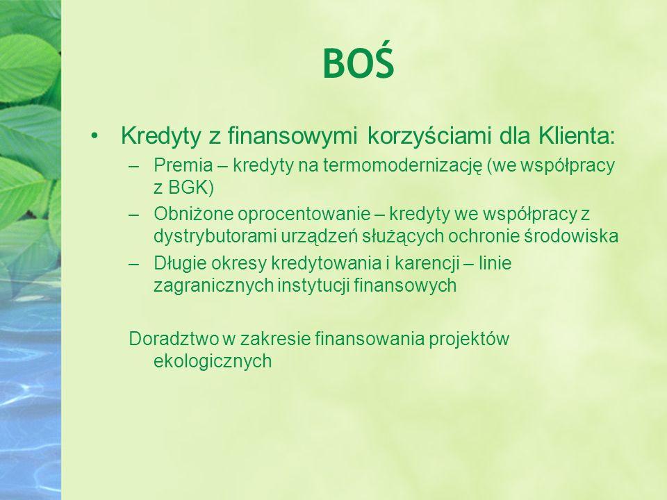 BOŚ Kredyty z finansowymi korzyściami dla Klienta: –Premia – kredyty na termomodernizację (we współpracy z BGK) –Obniżone oprocentowanie – kredyty we