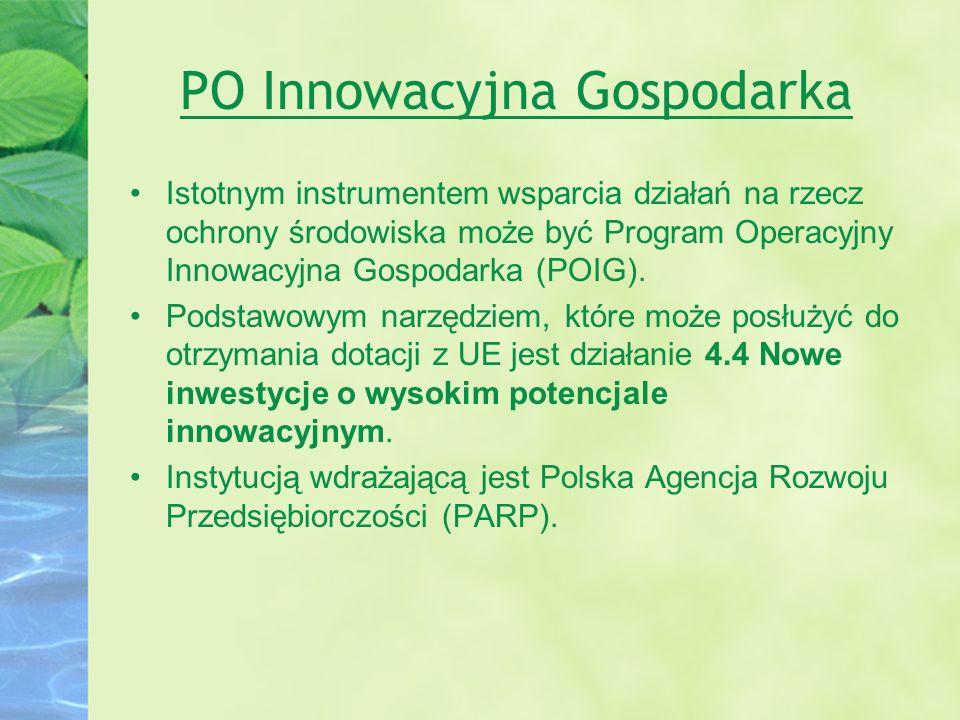 PO Innowacyjna Gospodarka Istotnym instrumentem wsparcia działań na rzecz ochrony środowiska może być Program Operacyjny Innowacyjna Gospodarka (POIG)