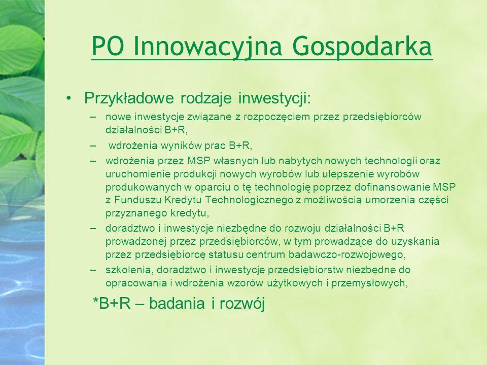 PO Innowacyjna Gospodarka Przykładowe rodzaje inwestycji: –nowe inwestycje związane z rozpoczęciem przez przedsiębiorców działalności B+R, – wdrożenia