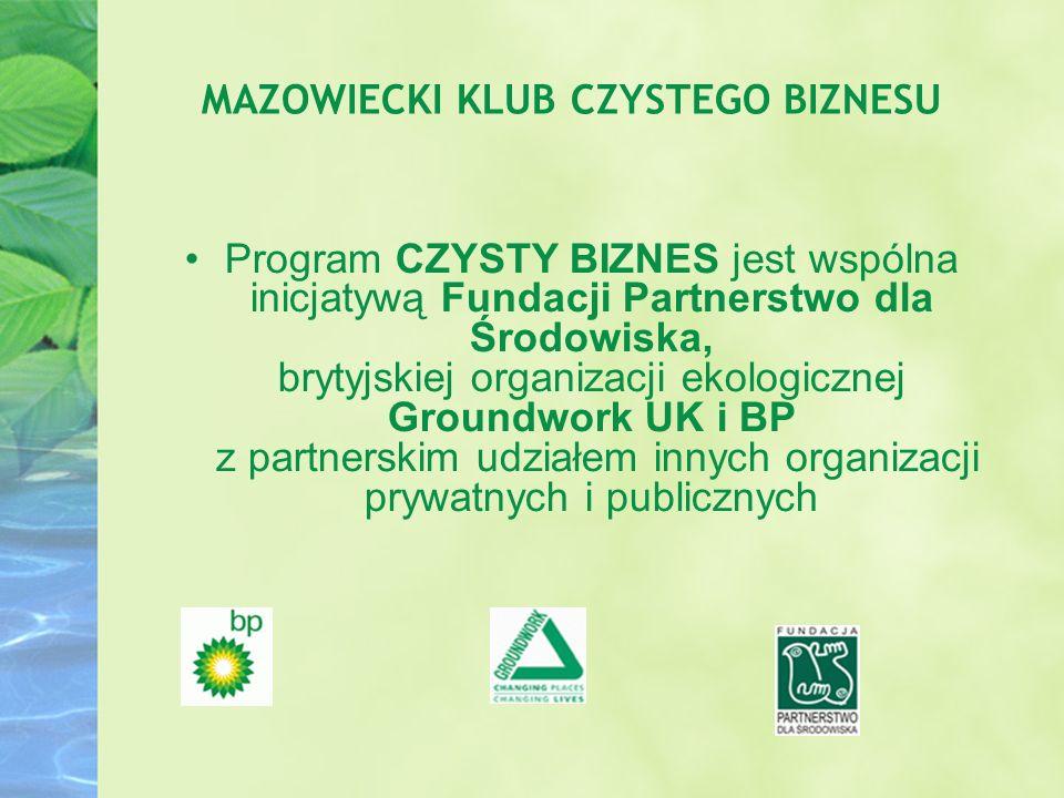 Program CZYSTY BIZNES jest wspólna inicjatywą Fundacji Partnerstwo dla Środowiska, brytyjskiej organizacji ekologicznej Groundwork UK i BP z partnersk