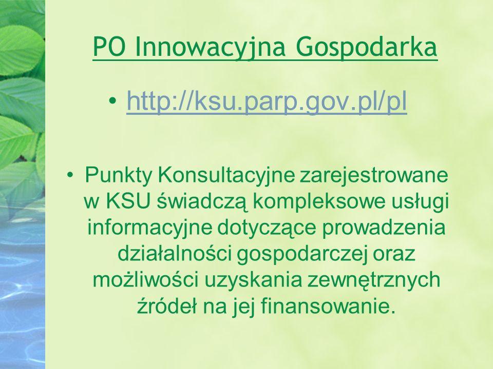 PO Innowacyjna Gospodarka http://ksu.parp.gov.pl/pl Punkty Konsultacyjne zarejestrowane w KSU świadczą kompleksowe usługi informacyjne dotyczące prowa