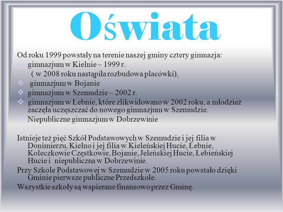 O ś wiata Od roku 1999 powstały na terenie naszej gminy cztery gimnazja: gimnazjum w Kielnie – 1999 r. ( w 2008 roku nastąpiła rozbudowa placówki), gi