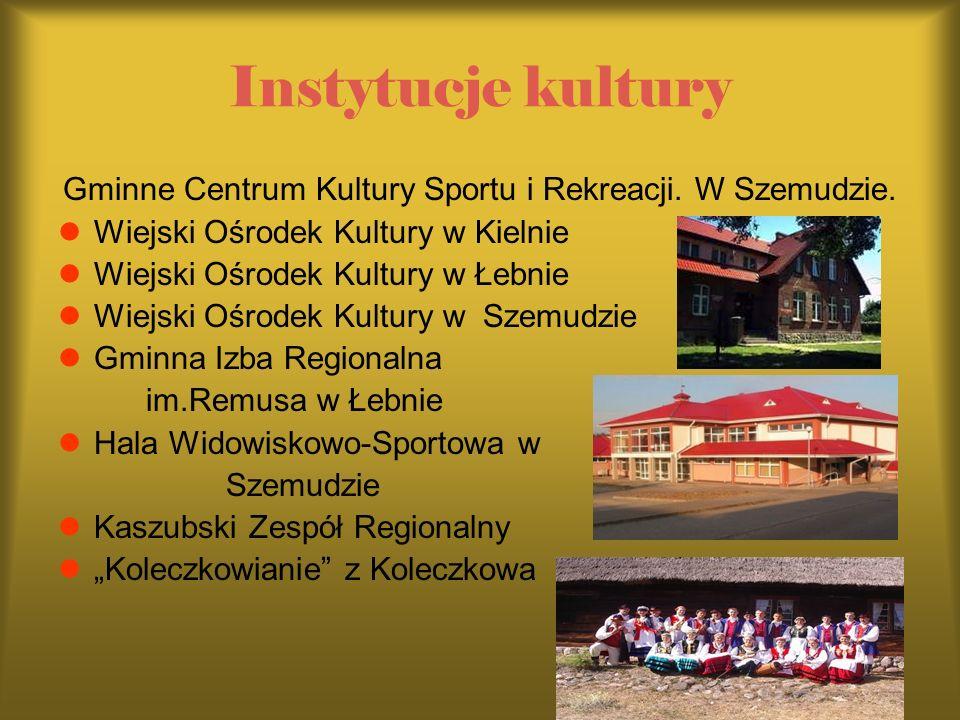 Instytucje kultury Gminne Centrum Kultury Sportu i Rekreacji. W Szemudzie. Wiejski Ośrodek Kultury w Kielnie Wiejski Ośrodek Kultury w Łebnie Wiejski