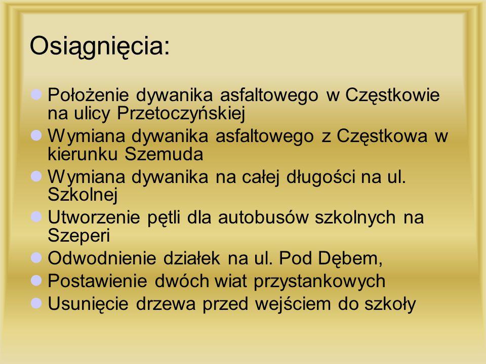 Osiągnięcia: Położenie dywanika asfaltowego w Częstkowie na ulicy Przetoczyńskiej Wymiana dywanika asfaltowego z Częstkowa w kierunku Szemuda Wymiana