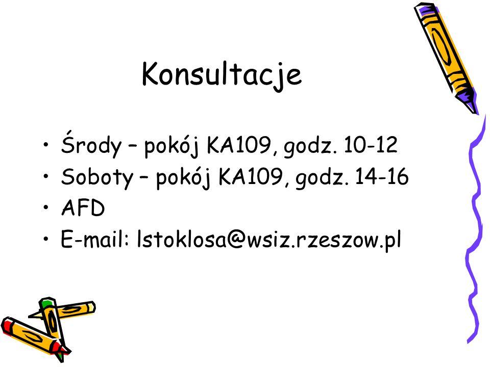 Konsultacje Środy – pokój KA109, godz. 10-12 Soboty – pokój KA109, godz. 14-16 AFD E-mail: lstoklosa@wsiz.rzeszow.pl