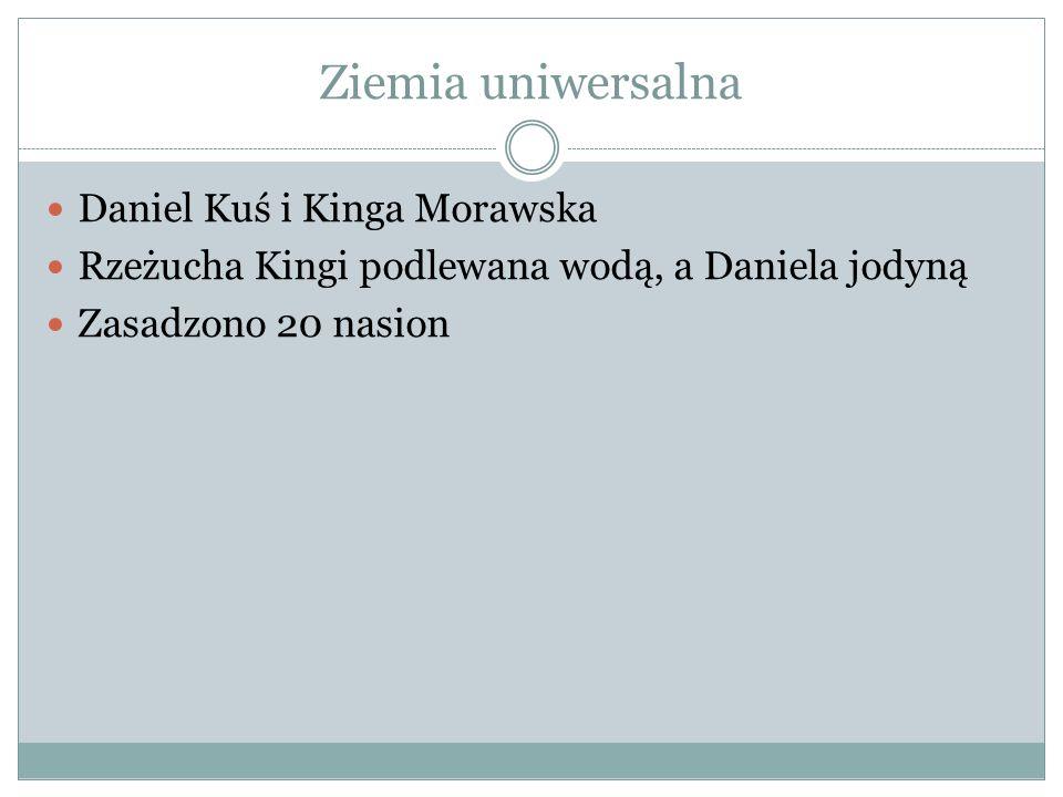 Ziemia uniwersalna Daniel Kuś i Kinga Morawska Rzeżucha Kingi podlewana wodą, a Daniela jodyną Zasadzono 20 nasion